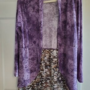CUPIO Purple and Leopard Cardigan Small fits Large